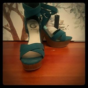 G by guess teal wedge